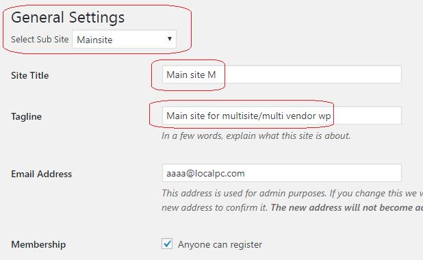 wordPress woocommerce multi site each store settings