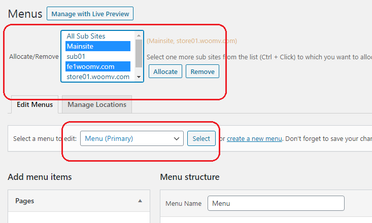 wordPress woocommerce different menus for multiple sites