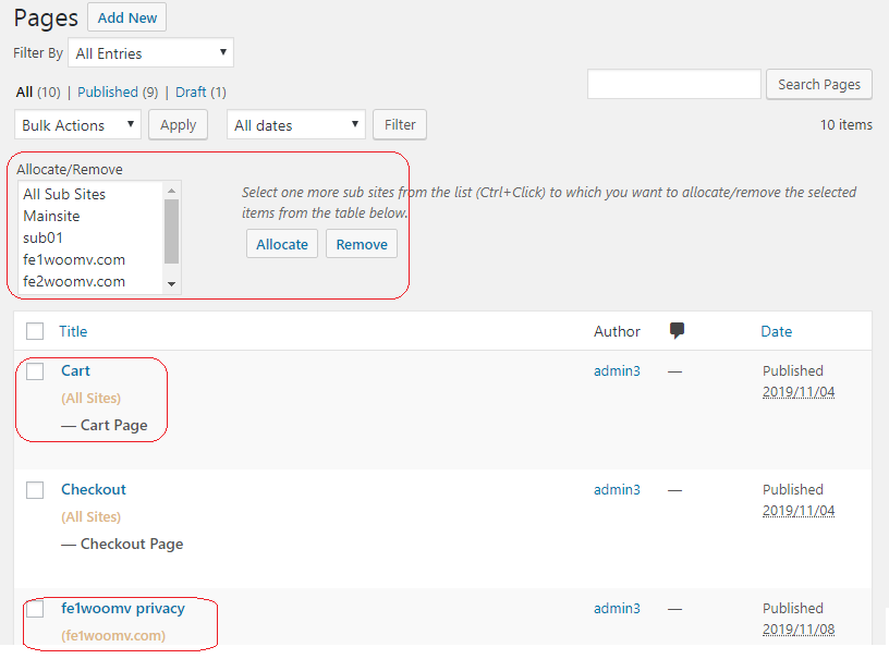wordPress woocommerce multi site multi store pages sharing.png