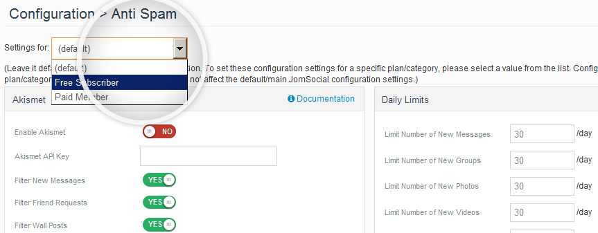 Better Anti-Spam settings for Paid JomSocial members