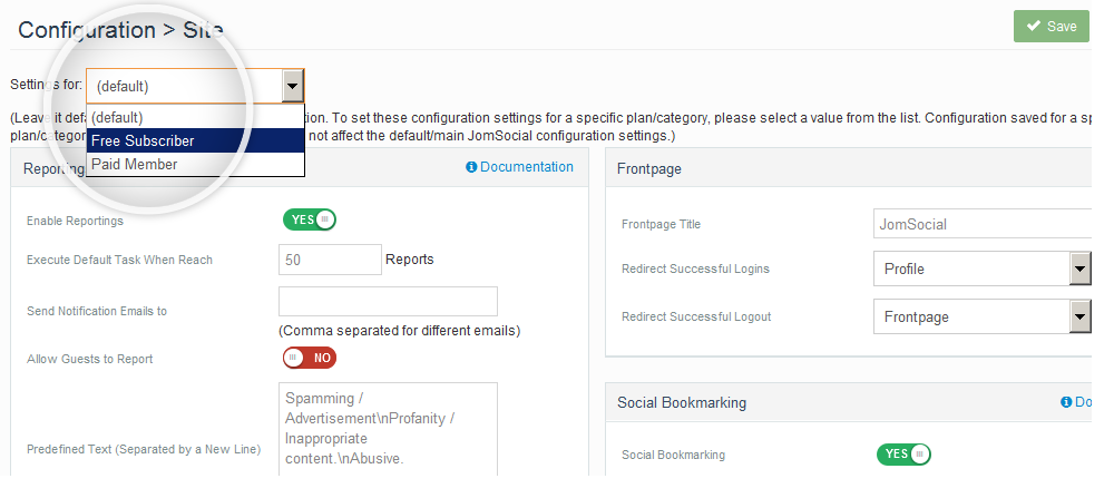 Multi Profile JomSocial Configuration