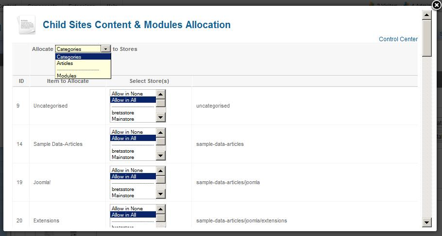 Multi Vendor Joomla Content & Module Allocation
